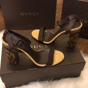 00f0709618c Gucci Shoes -  799 Gucci Dahlia Black Leather Bamboo-Heel Sandal